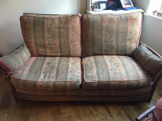 Ercol Renaissance High Back Ash Wooden Sofa Settee In