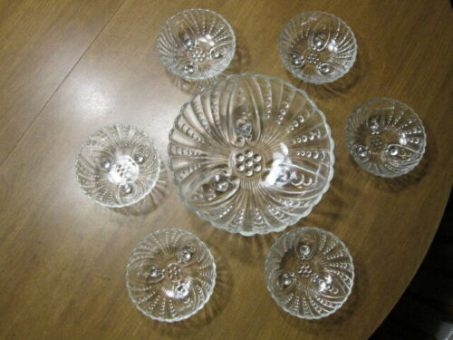 """Anchor Hocking BURPLE Clear Glass 8 1/2"""" LG BERRY BOWL 6 Sm Fruit Bowls 3-Footed"""