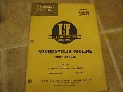 Minneapolis Moline It Shop Service Manual Ub Uts Special 5 Star M5 G-vi Tractor