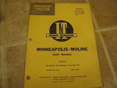 Minneapolis Moline It Shop Service Manual Ub Uts Special 5 Star M5 G-vi Tractor