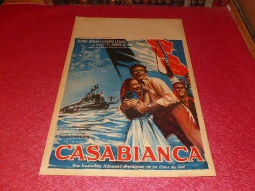 Cinema Poster Original Belgian Casabianca Jean Vilar Corsica Sub Sailor WW2 1951