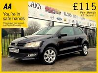 VOLKSWAGEN POLO 1.4 MATCH EDITION DSG 5d AUTO 83 BHP Apply for fin (black) 2013