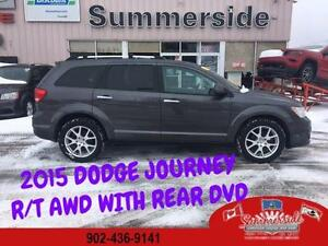 2015 DODGE JOURNEY R/T AWD  REAR DVD, BACK UP CAMERA! LOW KMS