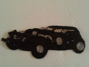 CLASSIC CAR WAGON BEADED SEQUIN PATCH Applique BLACK NEW