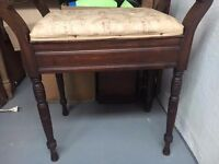 Music stool, original upholstery with sprig design. Very good condition