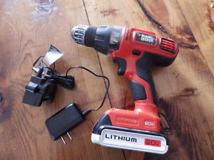 20v Lithium Ion Drill with Battery & Charger, Black & Decker