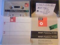 9x VERY RARE 1969-1975 BASF CASSETTE TAPES TYPE L, LH, LH SM, LH SM SUPER, CHROMDIOXID, FERROCHROM.