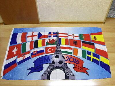 Fahnen Flagge EM 2016 mit allen Teilnehmer Länder darauf Fan - 90 x 150 cm