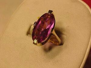 #1123-10K YELLOW GOLD-AMETHYST RING Size-8 1/4-sell $265.00-FREE SHIPPING IN CANADA ONLY