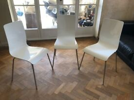 Dwell White Contemporary Dining Chairs - Set of 3