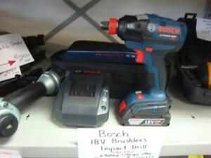 Bosch 18V EC Brushless 1/4-inch and 1/2-inch Socket-Ready Cordless Impact Driver with SlimPack Batteries NEW