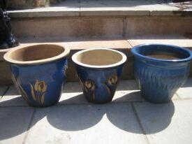 3 X BLUE GARDEN PLANTERS/ PLANT POTS