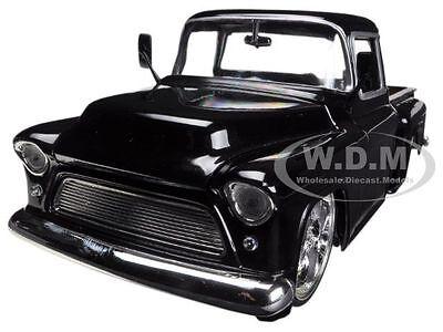 1955 CHEVROLET STEPSIDE PICKUP TRUCK BLACK 1/24 DIECAST CAR MODEL BY JADA 90160
