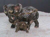 Ornamental,collectable, metal elephants with 'keepsake' compartment