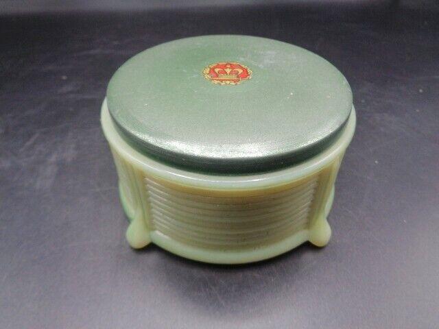 ART DECO  CUSTARD GLASS VANITY DRESSER JAR W.LID- GLOWS