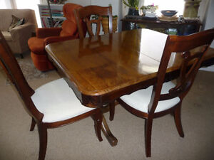 Antique Gibbard solid walnut table and 6 chairs - $850