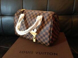 Louis Vuitton Brown Chequered Speedy 30 bag with a padlock and keys