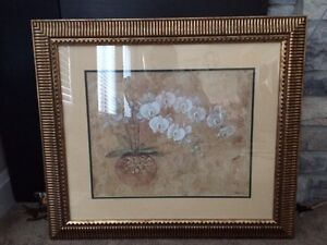white orchids in gold frame