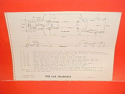 1958 FORD THUNDERBIRD T-BIRD TUDOR HARDTOP CONVERTIBLE FRAME DIMENSION CHART