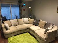 Used Furniture Village - Fabric Corner Sofa + Snuggler/cuddle armchair + Storage Footstool