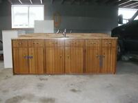 8 foot kitchen counter with top cabinets