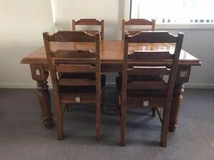 unusual solid recycled timber rustic dining table and 4 chairs Rockdale Rockdale Area Preview