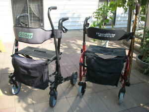 2 LIGHT WEIGHT SIDE FOLDING ROLLATOR WALKERS WITH CANES