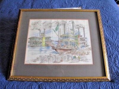 A Pen & Ink Lithograph featuring 3 Mississippi Paddle Boats  Signed