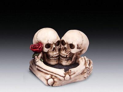 Skull Ashtray with Lovers Rose Figurine Statue Skeleton Halloween - Halloween Lovers