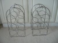 pair chrome metal wine racks with top carry handle £1.50 the pair - southbourne