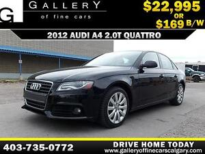 2012 Audi A4 2.0T QUATTRO $169 bi-weekly APPLY NOW DRIVE NOW