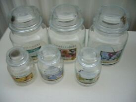 6 EMPTY YANKEE CANDLE JARS FOR STORAGE OR UPCYCLINE