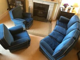 1950's Blue Velvet Large Curved 4 seat Settee with Two Matching Large Arm Chairs