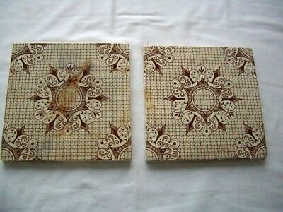 Antique Ceramic Tiles -  2 x Brown and White-  6