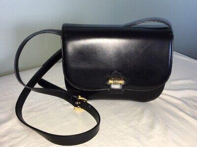 Vintage Saddle Accordion Flap Black Leather Cross Body Bag