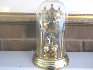 Vintage Heirloom Quartz 85 Mantel Anniversary Clock Glass dome-
