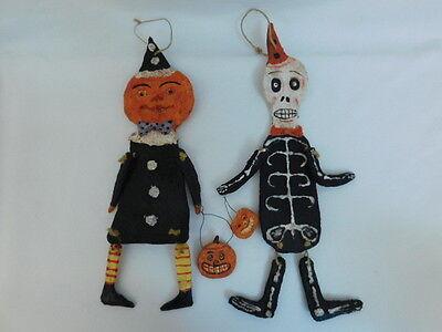 FOLK ART HALLOWEEN FIGURES HANGING PUMPKIN HEAD SKELETON NEW ORLEANS CLAY DOUGH - Folk Art Halloween Figures