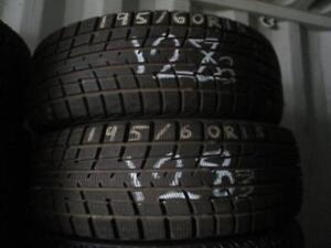 195/60 R15 YOKOHOMA ICE GUARD WINTER TIRES USED SNOW TIRES (PAIR OF 2 - $110.00) - APPROX. 85% TREAD