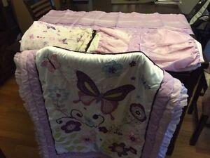 5 piece butterfly crib bedding set