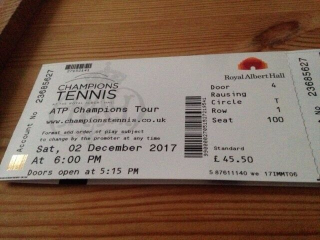 Albert Hall Champions Tennis 2nd December, front row circle seats