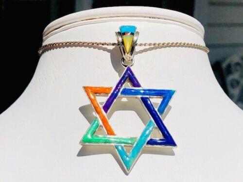 LARGE BIG BURSTING Rainbow Color Gemstones Star Of David Pendant sterling Opal