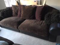 Arighi Bianchi 4 and 2 seater leather sofas with fabric cushions