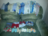 NB-3M boy clothing, mostly PJ's and onesies. 40 pieces total