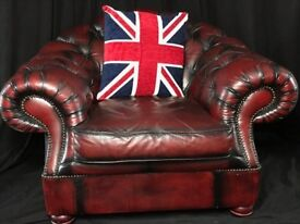 Large Handmade Chesterfield Style Leather Club Armchair Oxblood Red