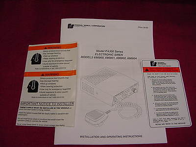 New Federal Signal Pa 300 Installation And Applications Manual