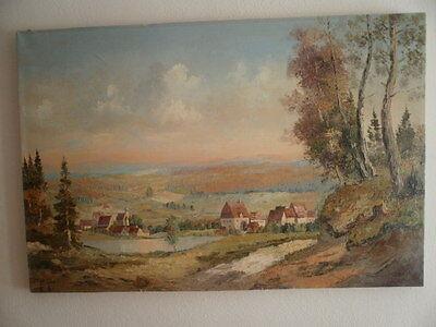 Vintage Signed Oil on Canvas Painting - Austrian Village Scene