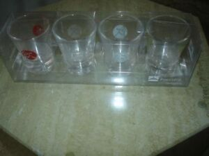 """Fortunes"" SHOT GLASSES Set of 4 with box LIKE NEW"