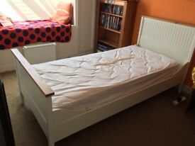 Single White Wooden Bed with Mattress