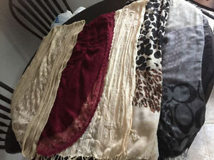 Lot of five scarves