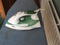 Steam iron & ironing board. Morphy Richards turbo-steam iron in good working order + ironing board